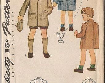 Simplicity 4619 Vintage Girls or Boys Coat Pattern Size 4