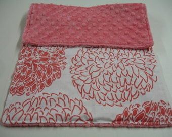 Coral Hydrangeas Burp Cloth with Minky 11 X 20 READY TO SHIP On Sale