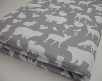 Woodland Animal Party in Gray Minky Blanket MADE TO ORDER