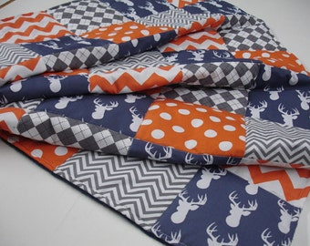Deer Head Navy Gray Orange Minky Blanket You Choose Size and Minky Color  MADE TO ORDER No Batting
