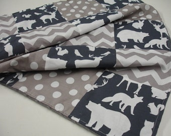 Woodland Animals Party with Gray Chevron and Dots  3 Piece Baby Crib Bedding Set MADE TO ORDER