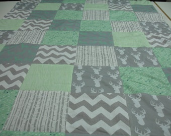 Minty Fresh Deer Forest 3 Piece Baby Crib Bedding Set MADE TO ORDER