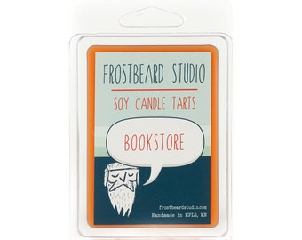 Bookstore - Book Candle Tart -  Book Lover Gift - Scented Soy Candle Melt - Frostbeard Studio - 3oz Pack