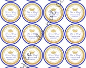 "INSTANT DOWNLOAD / Boy Royal Prince Crown Baby Shower 2"" printable Party / Cupcake Topper / Stickers / Thank You Tag"