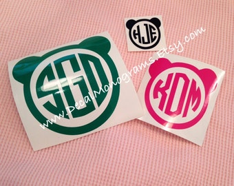 Panda Face Monogram Vinyl Decal