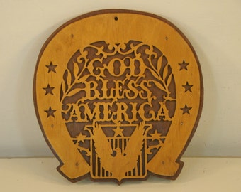 Vintage Folk Art God Bless America House Warming Wooden Horse Shoe Vintage Americana Stars and Eagle Hand Made Wooden Horseshoe Sign