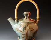 Teapot with Cane Handle, Pea and Leaf Design, Handmade Ceramic Teapot, Teapots