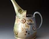 Ceramic Watering Can with Flower Motif, Handmade Pitcher, Pouring Vessel,