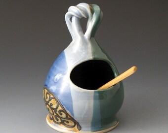 Ceramic Salt Cellar, Blue and Green Colors, Salt Pig, Handmade Salt Keeper, Salt & Pepper