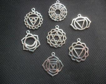 7 Chakra Symbol Pendants Silver Tone Metal