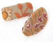 Crewel hair barrettes, beige barrettes, embroidered barrettes, floral barrettes,  fabric barrettes, hair accessory, fashion accessory