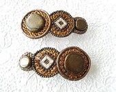 Brown beaded hair barrette, embellished barrette, circle hair clip, fashion accessory