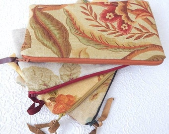 Upholstery pouch, linen zipper pouch, printed floral purse, fabric clutch, lined pouch, fashion accessory, 4 colors to choose from