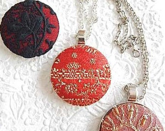Red pendant necklace, beaded jewelry, lace pendant, valentines day gift