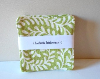 fabric drink coasters modern green set of 4