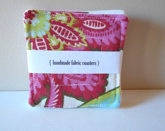 fabric drink coasters bold floral