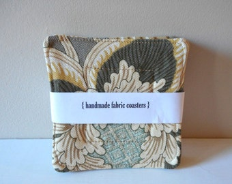 fabric drink coasters botanical set of four