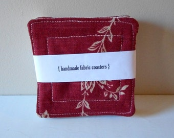 fabric drink coasters red oxblood wine set of four