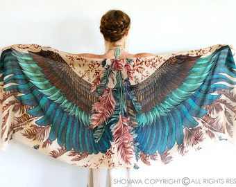 Womens Cape Scarf, Womens Wrap, Oversized Shawl, Feather Print Wrap, Unique Scarf, Bohemian Shawl, Boho Wrap, Rustic Shawl, Silk Shawl