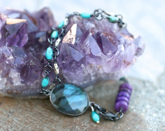 Sugilite, Turquoise, Labradorite Gemstone Oxidized Sterling Silver Double Strand Bracelet, Purple and Turquoise Gemstone Bracelet