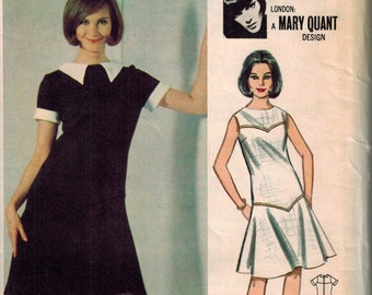 1966 Butterick 3498 Gorgeous Mod Dress Sewing Pattern Vintage Size 13 Designed by Mary Quant Flounced Dress