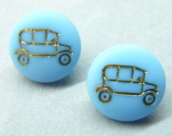 Vintage buttons, glass buttons, turquoise buttons, car buttons