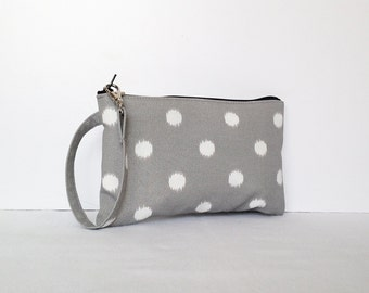 Square Wristlet  Zipper Pouch - Ikat Dots Nova/Birch
