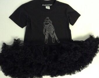 Kid's Black Sock Monkey Tutu Dress Sz 5-6