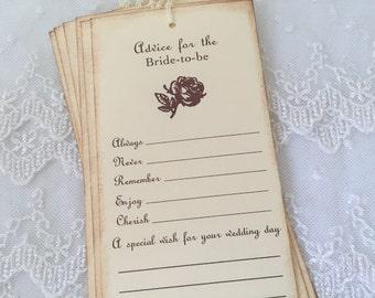 Bridal Shower Wish Tree Tags Guest Book Alternative Vintage Rose Floral Set of 10