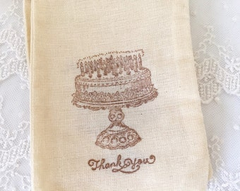 Happy Birthday Thank You Muslin Bags 4x6 OR 5x7