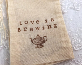 Tea Party Muslin Teapot Love is Brewing 4x6 OR 5x7
