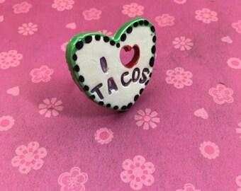 I HEART TACOS Ceramic Ring
