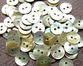 Mother of Pearl Buttons - Set of 70 - 10mm Creamy White Pearl Buttons (PB0027)