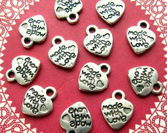 Silver Made With Love Charms - Set of 12 - 12mm Antique Silver Finish Heart Shaped Charms (SC0090)