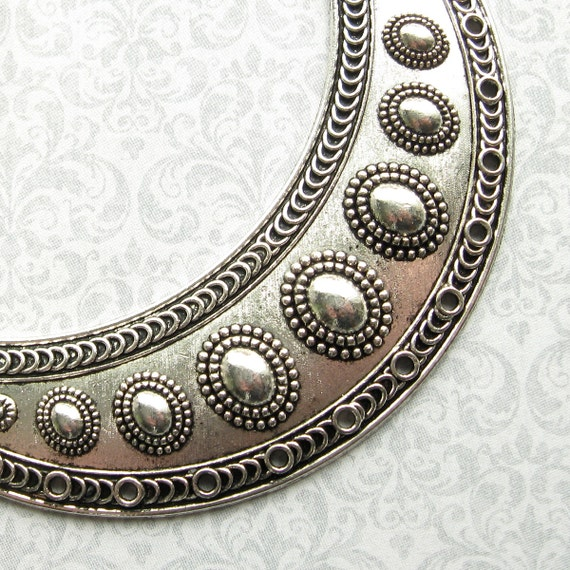 Large Silver Crescent Moon Multi Strand Pendant Collar 1