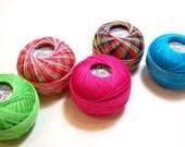Tatting Thread, Lizbeth Size 20 Cotton Crochet Thread, Rainbow Collection, Pink, Blue, Green Thread
