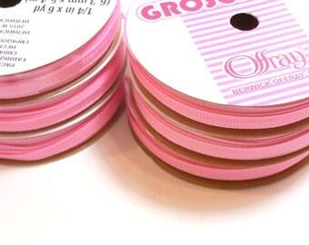 Light Pink Ribbon, Pink grosgrain ribbon 1/4 inch wide x 36 yards