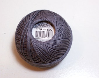 Tatting Thread, Lizbeth Size 10 Cotton Crochet Thread, Medium Charcoal Gray, Color number 607