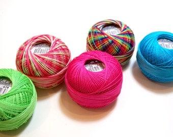 Tatting Thread, Lizbeth Size 10 Cotton Crochet Thread, Rainbow Collection, Pink, Blue, Green Thread