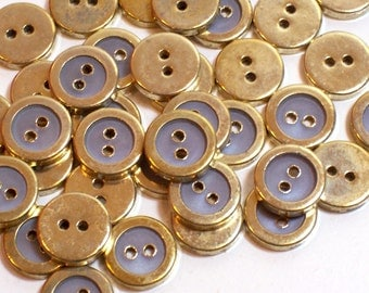 Gold Buttons, Goldtone and Gray Metal Edged Plastic Buttons 1/2 inch(13 mm) in diameter x 40 pieces, 2 hole garment buttons