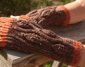 Orange and Dark Brown Leaves on a Vine Fingered Gloves
