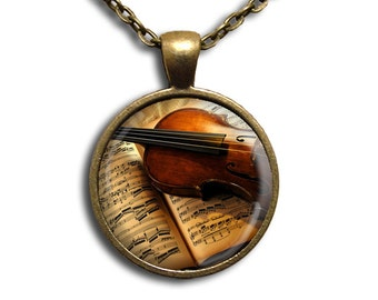 The Violinist Music - Glass Dome Pendant or with Chain Link Necklace PR103