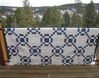 Old Blue Calico Quilt | Antique Calico Quilt | VIntage Blue Quilt | Old Handmade Quilt | 82 x 84  | NOT PERFECT