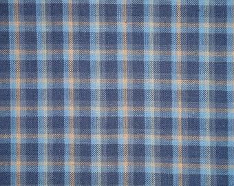 Homespun Fabric | Cotton Fabric | Home Decor Fabric | Quilt Fabric | Medium Plaid Navy, Blue and Khaki Fabric | Sold By The Yard