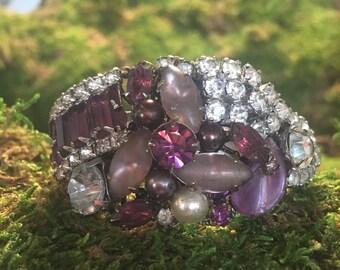 Iris - collage assemblage purple rhinestone cuff romantic feminine vintage repurpose date night