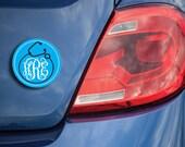 Monogram car magnet, nurse monogrammed magnet, doctor monogrammed magnet, 4 inch round personalized car magnet