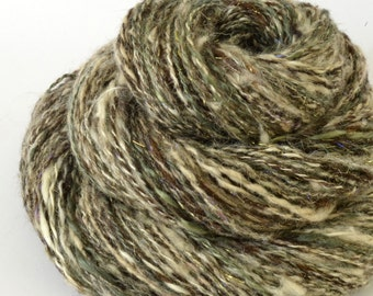 Handspun Yarn - Silk Alpaca and Merino Yarn - Art Yarn- 2.3oz, 152yd, 13WPI