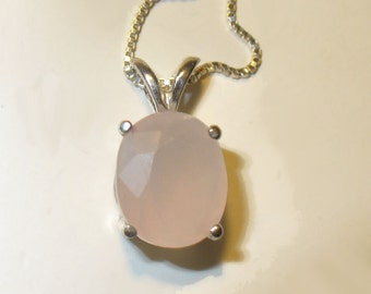 Pink Chalcedony Pendant Necklace - Delicate Pink Natural Gemstone in Solid Sterling Silver