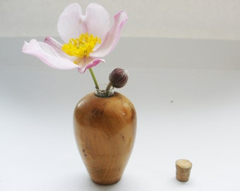 tiny turned message in a bottle bud vase with glass liner & cork