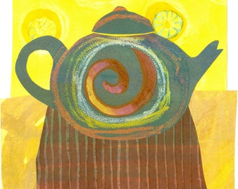 Paper Collage Art Print, Zen Tea, 8x10 or 10x13, Teapot Picture